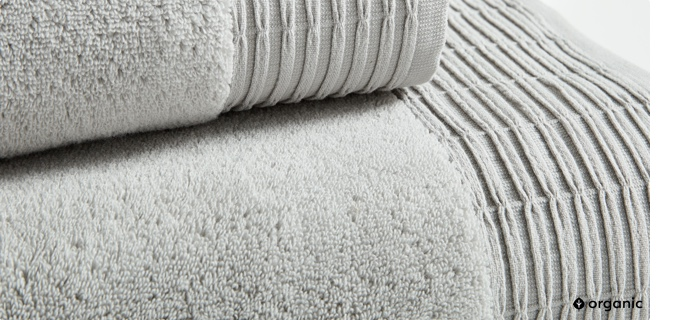organic pleated edge hydrocotton towels