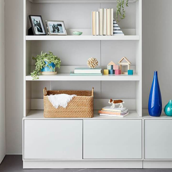 White Bookshelf with Bookends