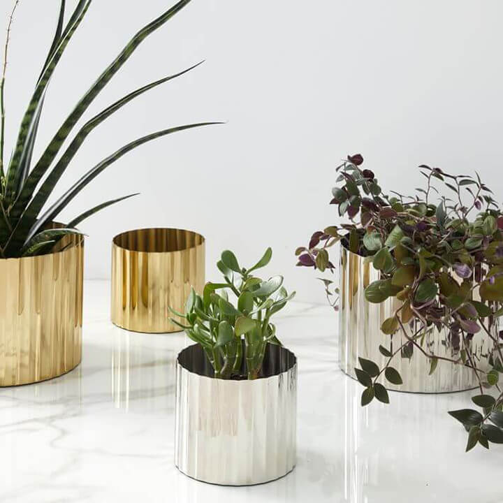 Gold and Silver Planters for Desk
