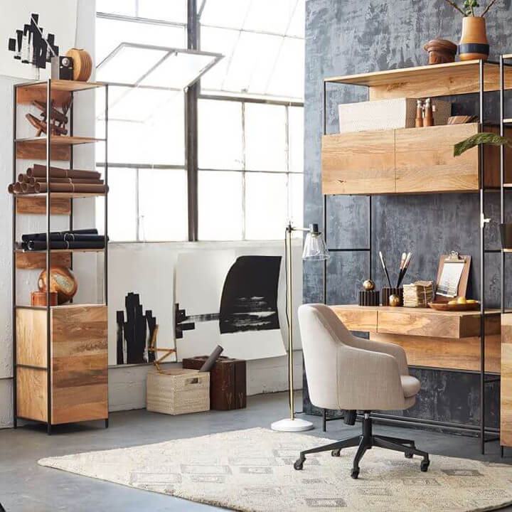 Industrial Office Desk and Bookcase