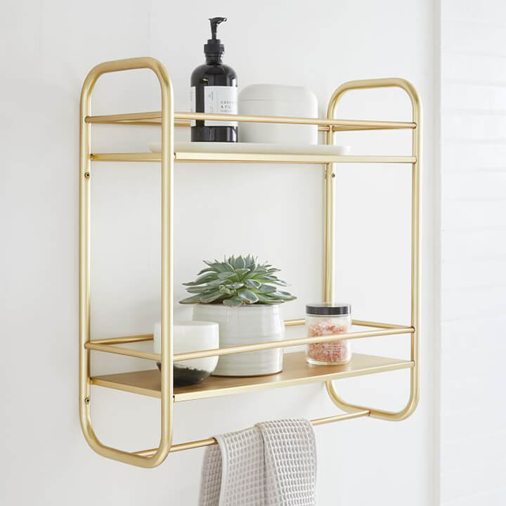 Bathroom Organization Ideas - Gold Wall Shelves