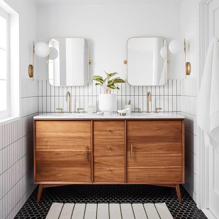 Mid-Century Double Bathroom Vanity