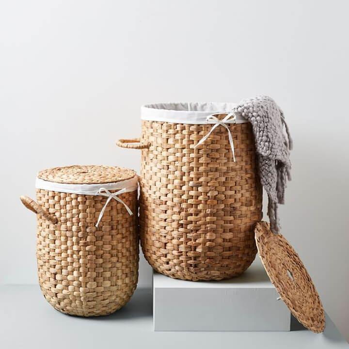 Round Weave Laundry Hamper Baskets - Bathroom Organization