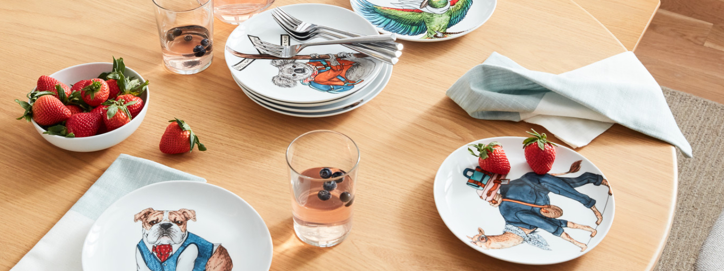 dapper animal porcelain dinnerware collection