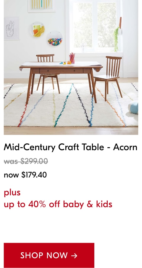 up to 40% off baby & kids