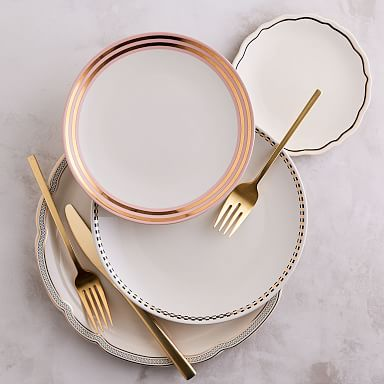 Fishs Eddy Metallic Gilded Stoneware Dinnerware Set