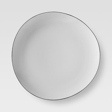 Organic Shaped Dinner Plates - Silver Rimmed