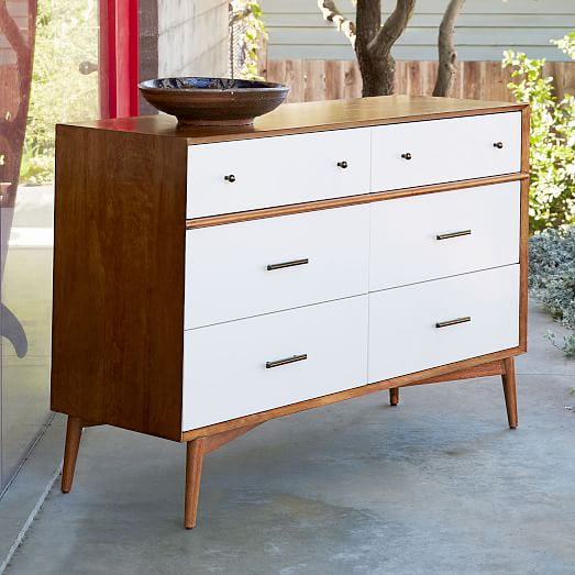 Mid Century 6 Drawer Dresser White