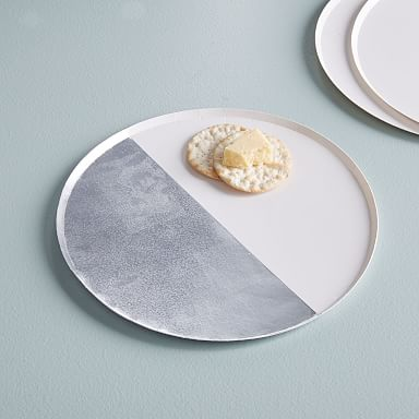 Paper Dinner Plates - Silver & White (Set of 8)