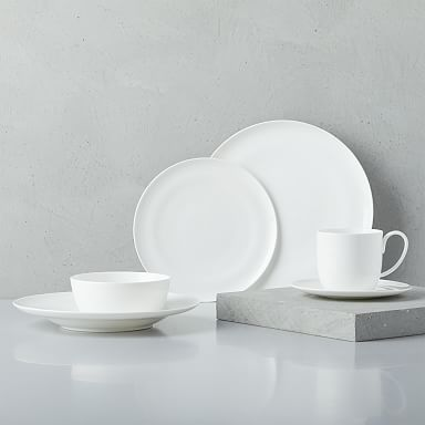 Rim Bone China Dinnerware Set - White