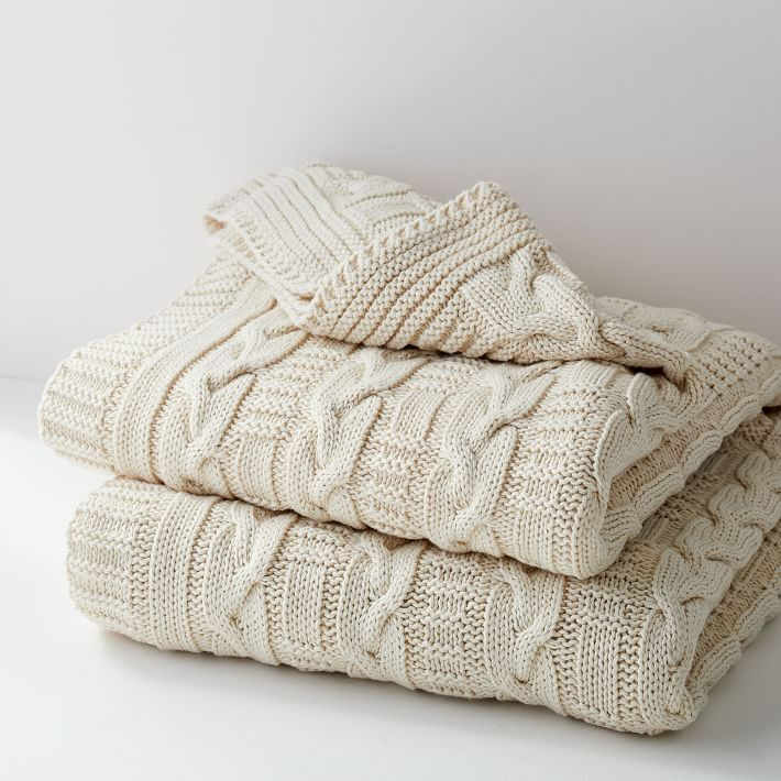 Cotton Braided Cable Knit Throw