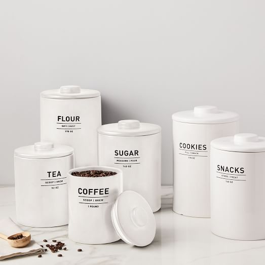 Shop Utility Kitchen Canisters - White from West Elm on Openhaus
