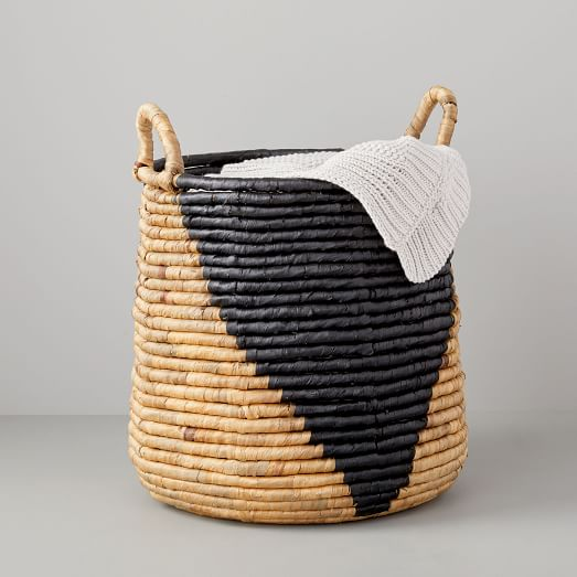 Shop Woven Seagrass Basket - Tall Round (Natural/Black) from West Elm on Openhaus