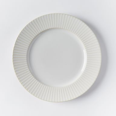 Textured Dinner Plates - White (Lines)