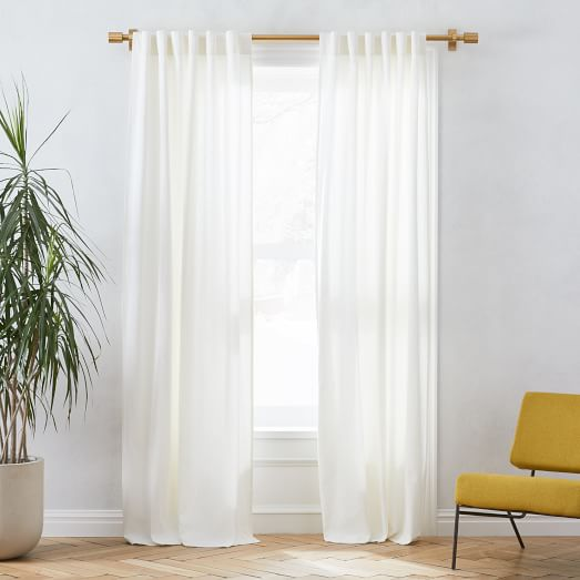 Linen Cotton Curtain Stone White
