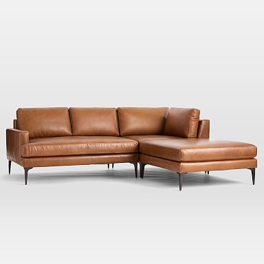 Andes Leather 3-Piece Chaise Sectional