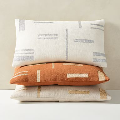 Embroidered Metallic Blocks Lumbar Pillow Cover