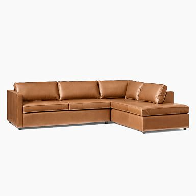Harris Leather 2-Piece Terminal Chaise Sectional