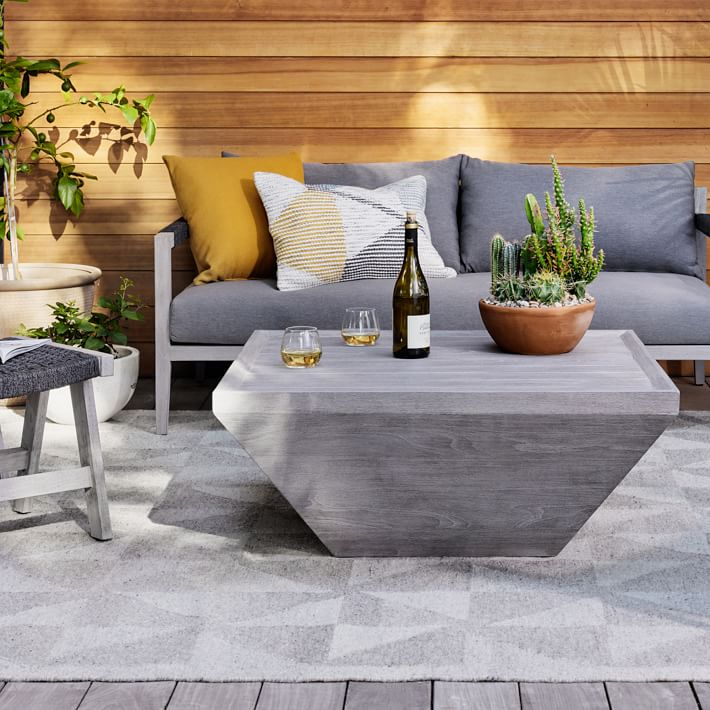 Teak Wood Square Outdoor Coffee Table - Weathered Gray ...