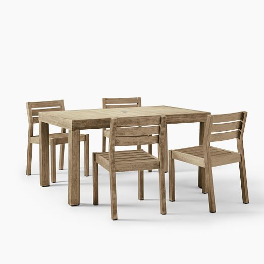 Portside Outdoor 58 5 Dining Table Solid Wood Chairs Set