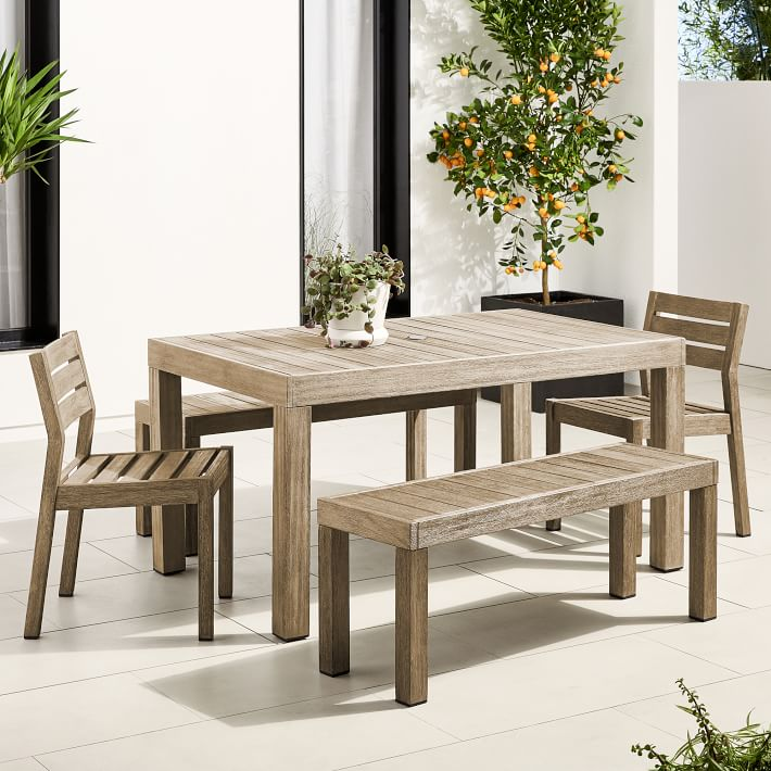 Portside Outdoor 58 5 Dining Table Benches Solid Wood Chairs Set
