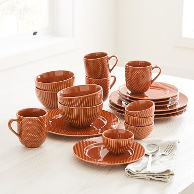 Textured Stoneware Dinnerware- Amber (Set of 16)