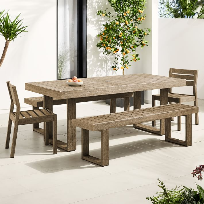 Portside Outdoor 76 5 Dining Table 2 Benches 2 Solid Wood Chairs Set