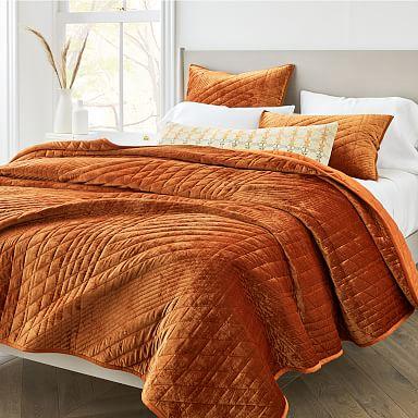 Lush Velvet Linear Coverlet & Shams - Copper