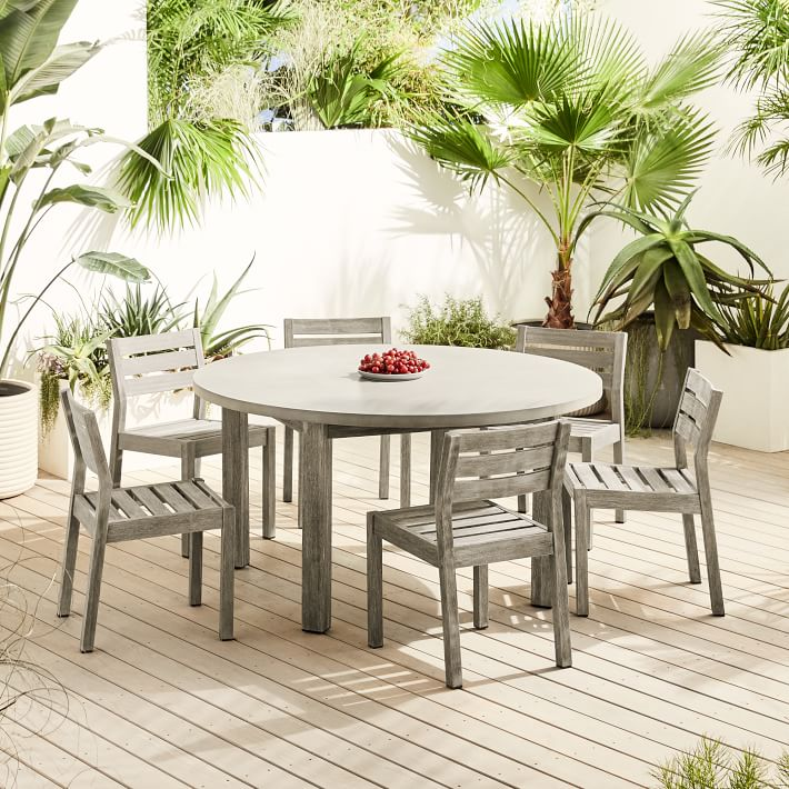 Cucina Letters Kitchen Decor, Concrete Outdoor Round Dining Table 6 Portside Solid Wood Chairs Set