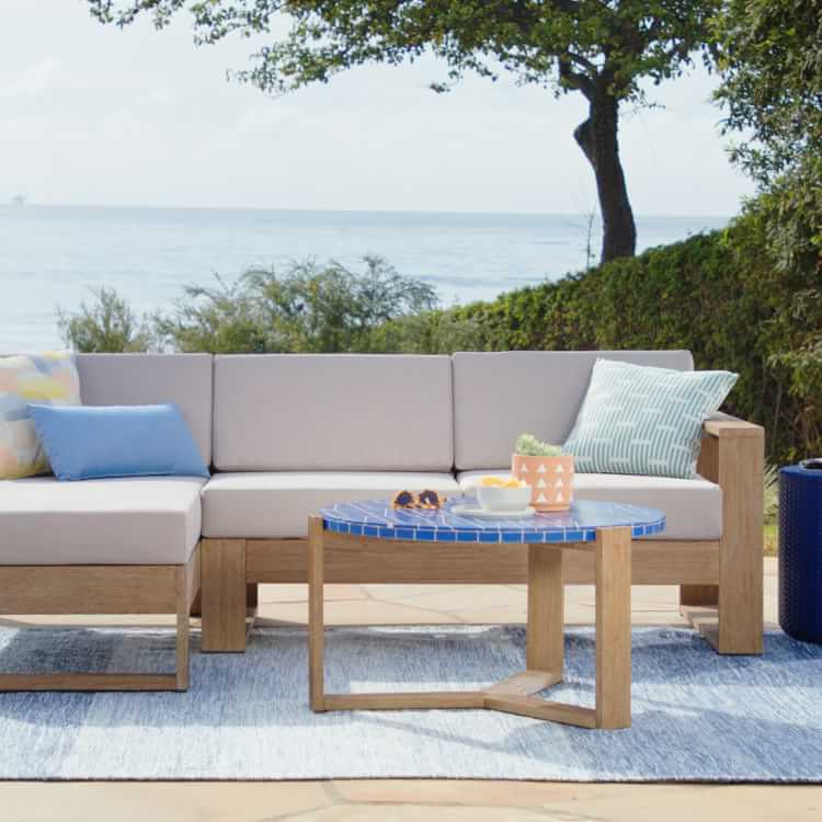 Portside Outdoor Textilene Chaise Lounger C Shaped Side Table Set