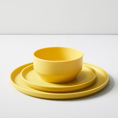 Modern Melamine Dinnerware - Citrus Yellow