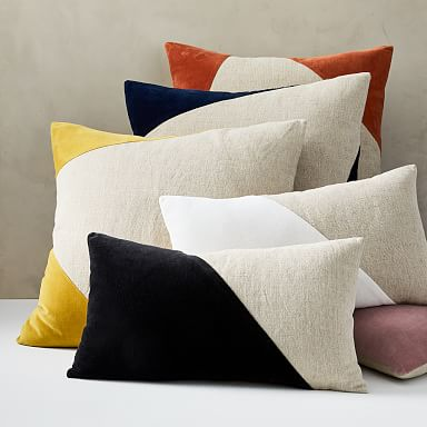 Cotton Linen & Velvet Corners Pillow Cover