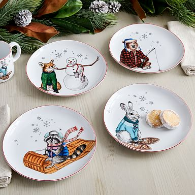 Dapper Animal Holiday Salad Plate