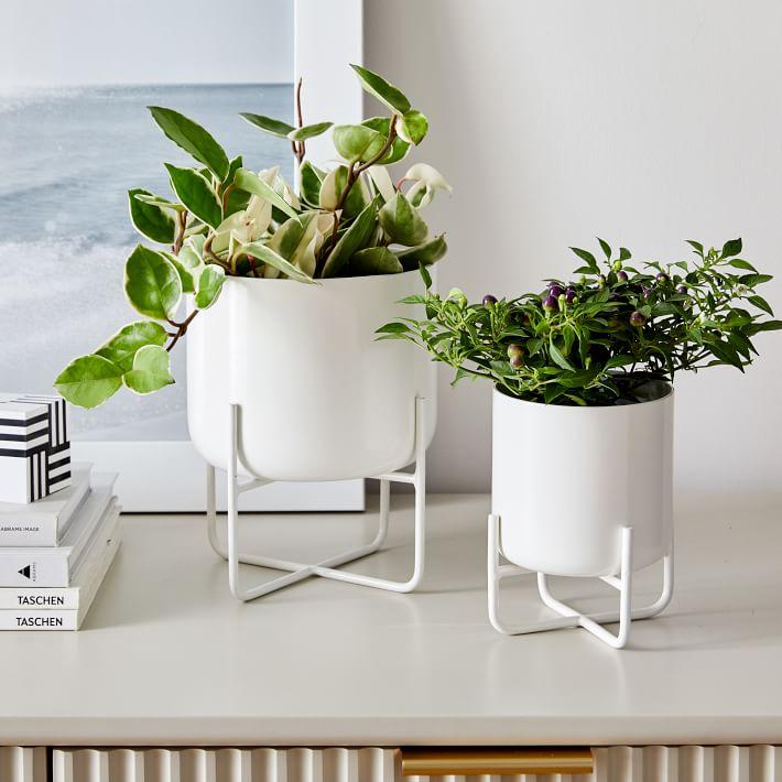 Spun Metal Tabletop Planters White