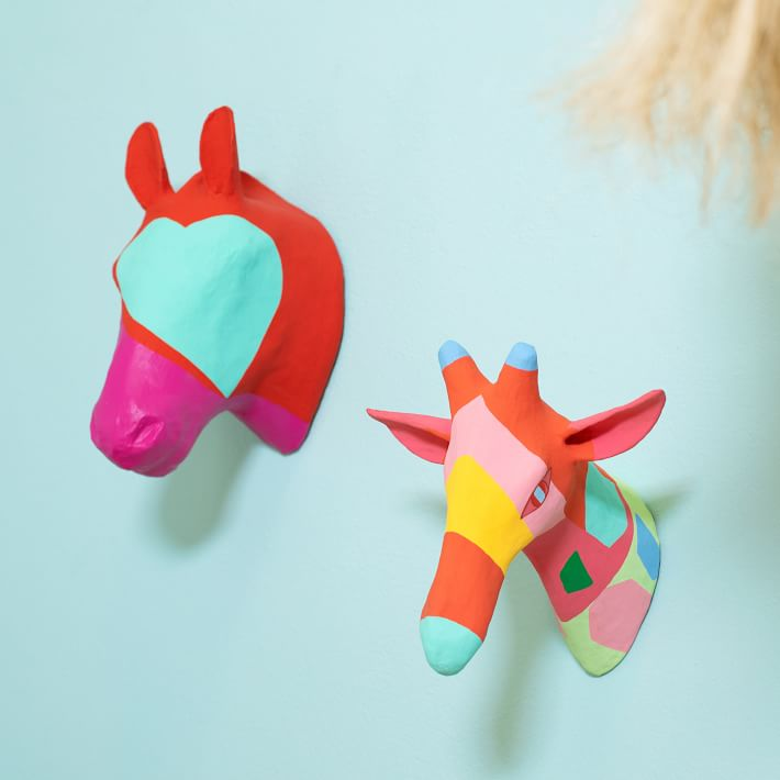 Custom Painted Papier-Mache Animal Head