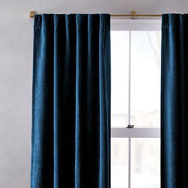 Worn Velvet Curtain - Regal Blue
