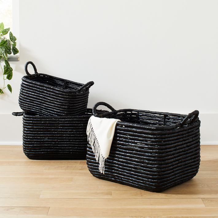 Shop Woven Seagrass Baskets - Black from West Elm on Openhaus