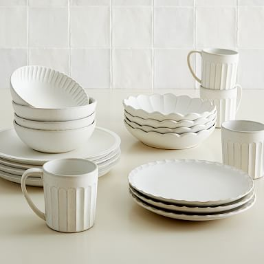 Curated Stoneware Scalloped Dinnerware (Set of 20)