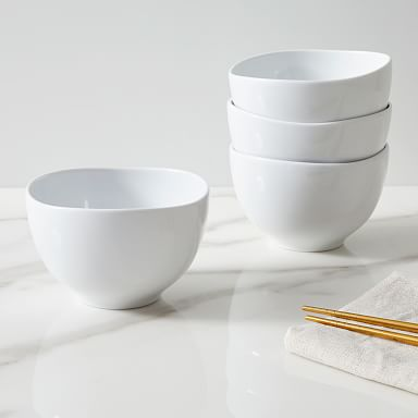 Organic Shaped Porcelain Rice Bowls - White