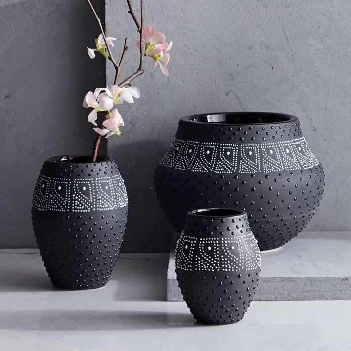 Black White Dot Vases