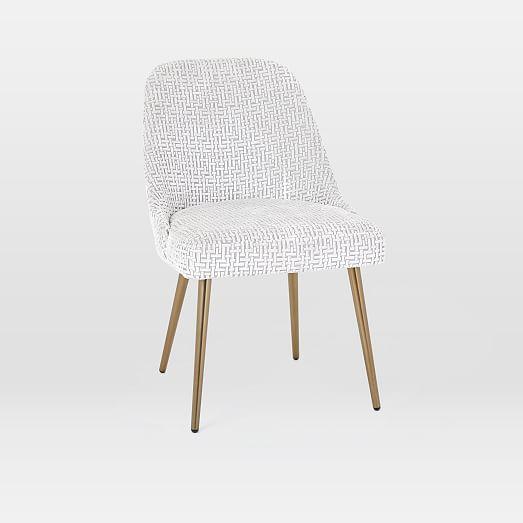 Mid Century Crosshatch Cut Velvet Dining Chair