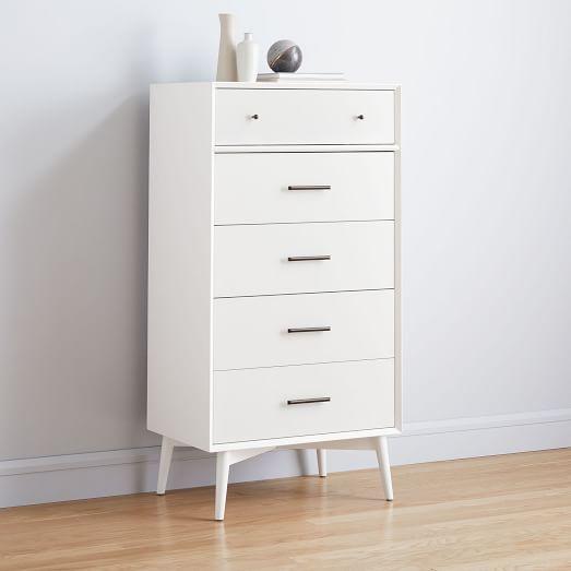Mid Century 5 Drawer Dresser White