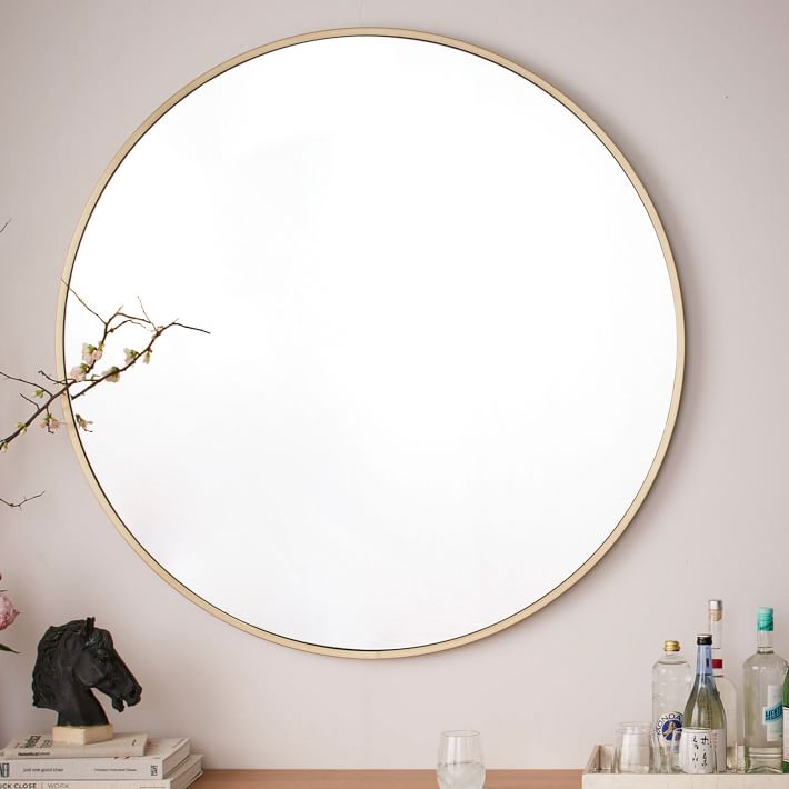 Metal Frame Oversized 48 Round Mirror