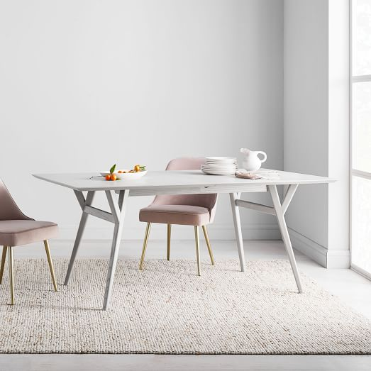 Mid Century Expandable Dining Table Pebble