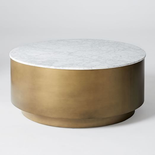 Marble Metal Drum Coffee Table