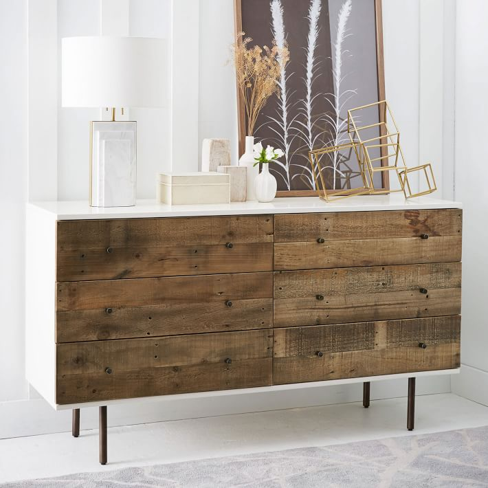 Reclaimed Wood Lacquer 6 Drawer Dresser