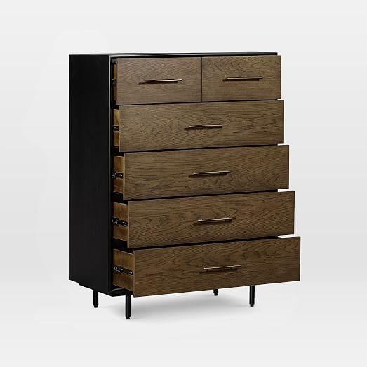 Oak Wood Wrapped 6 Drawer Dresser Tall, 6 Drawer Cabinet
