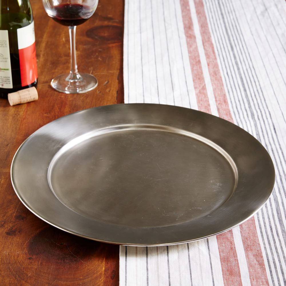 15 inches Metal Charger West Elm Cast Metal Charger NEW Pewter $29.50 Diameter