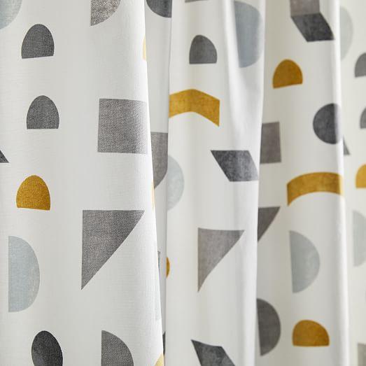 Summer Shower Curtain Colored Geometric Circle Print for Bathroom