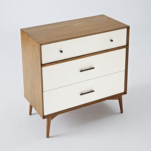 Mid Century 3 Drawer Dresser White